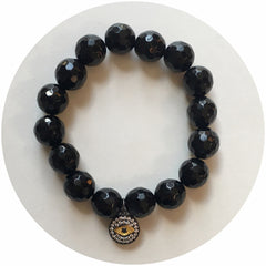 Black Onyx with Gunmetal Pavé Eye Pendant - Oriana Lamarca LLC
