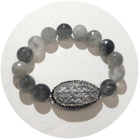 Grey Quartz with Pavé Snake Skin Accent