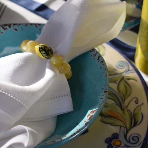 Yellow agate with Handpainted Lemon Wine Glass Marker & Napkin Ring