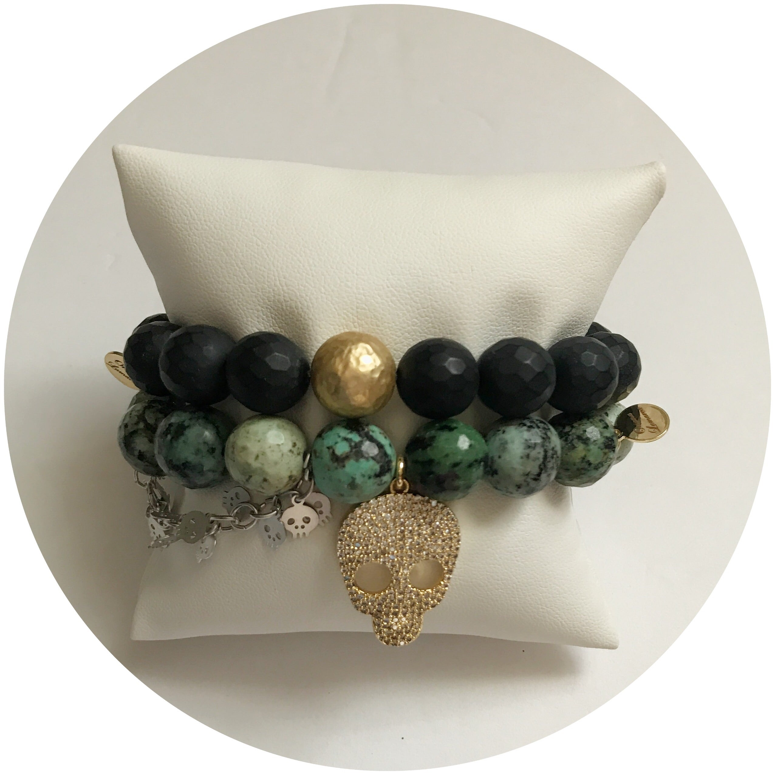 African Turquoise with Pavé Gold Skull and Silver Skull Chain - Oriana Lamarca LLC