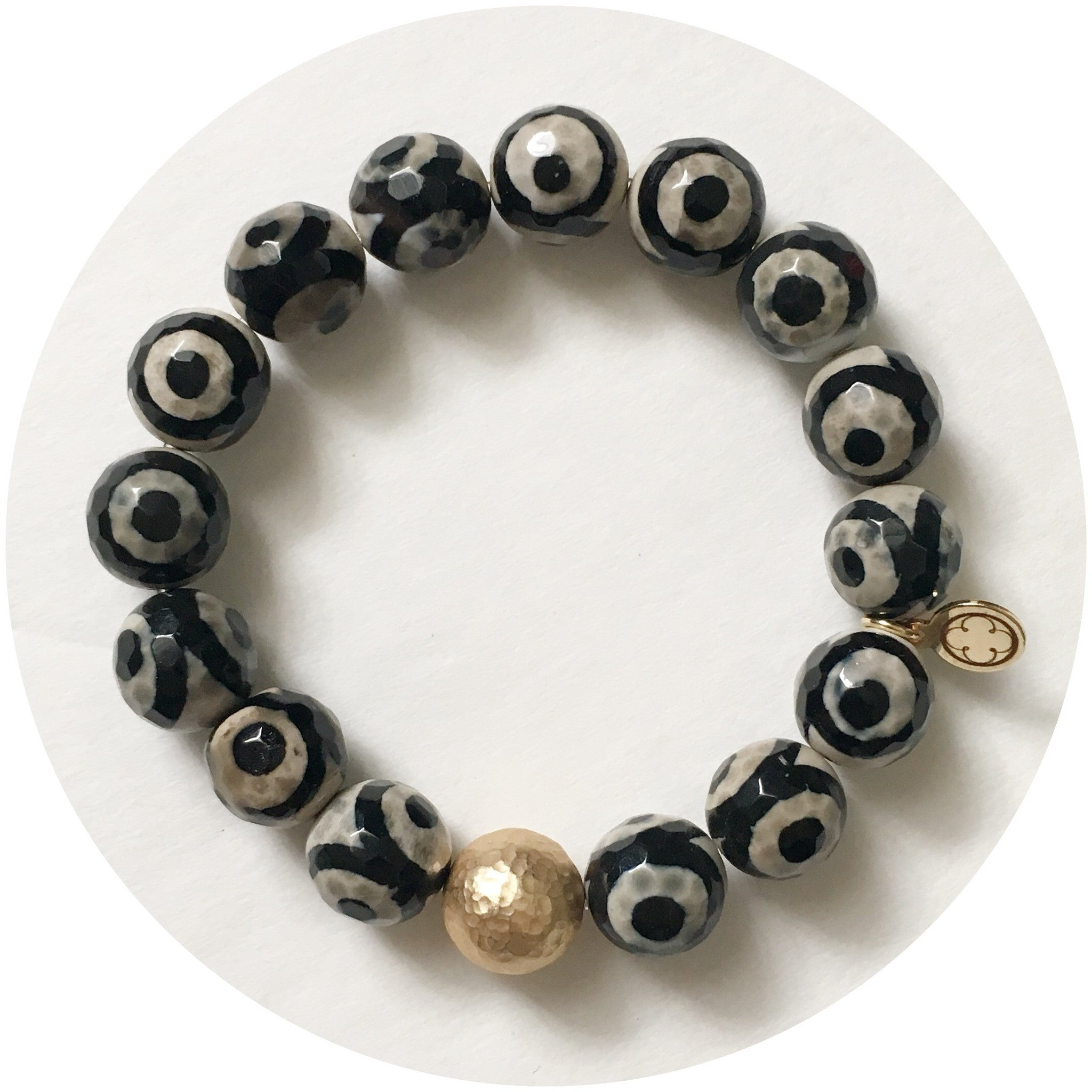Tibetan Black Eye Agate with Hammered Gold Accent - Oriana Lamarca LLC