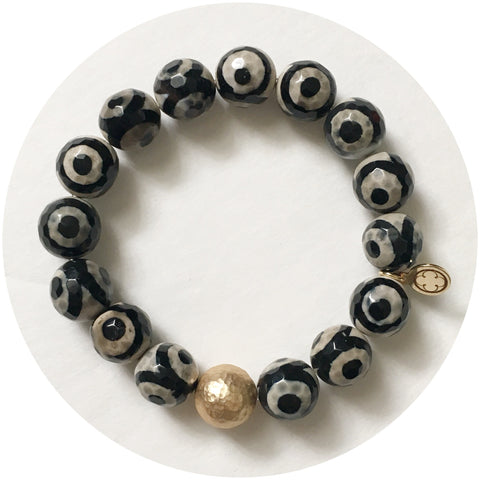 Tibetan Black Eye Agate with Hammered Gold Accent
