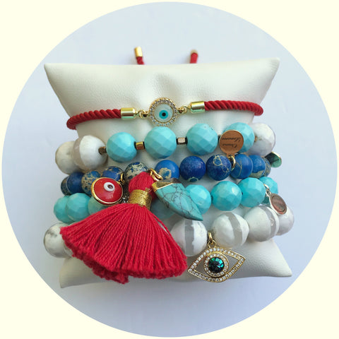 Blue Imperial Jasper with Red Tassel and Turquoise Horn