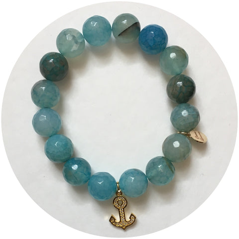 Paulette's C of Blue Fire Agate with Pavé Gold Anchor Pendant