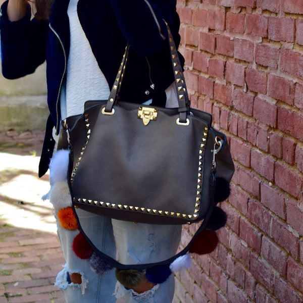 Taupe Uptown Studded Leather Tote