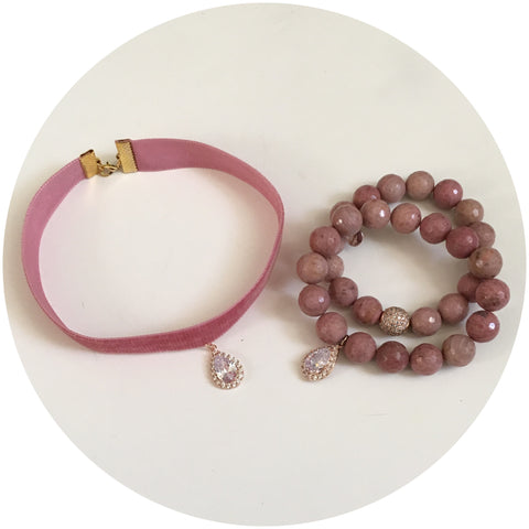 Dusty Rose Velvet Choker with Pavé Rose Gold Teardrop