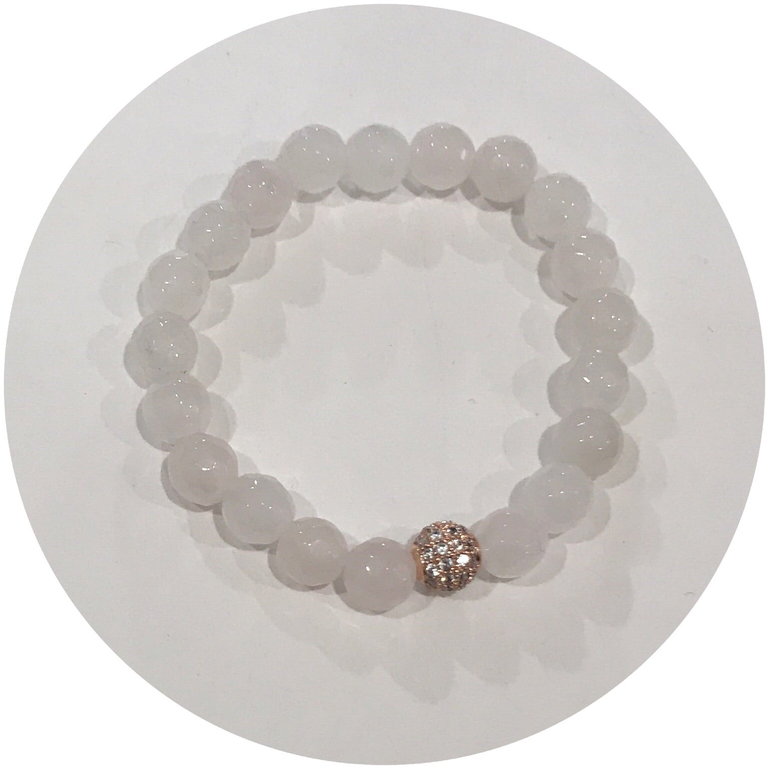 Mini Rose Quartz with Pavé Rose Gold Accent *For NewBorns*