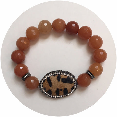 Brown Aventurine with Leopard Calf Hair Focal Bead