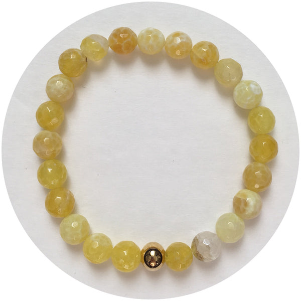 Mens Crackled Yellow Agate with Gold Accent