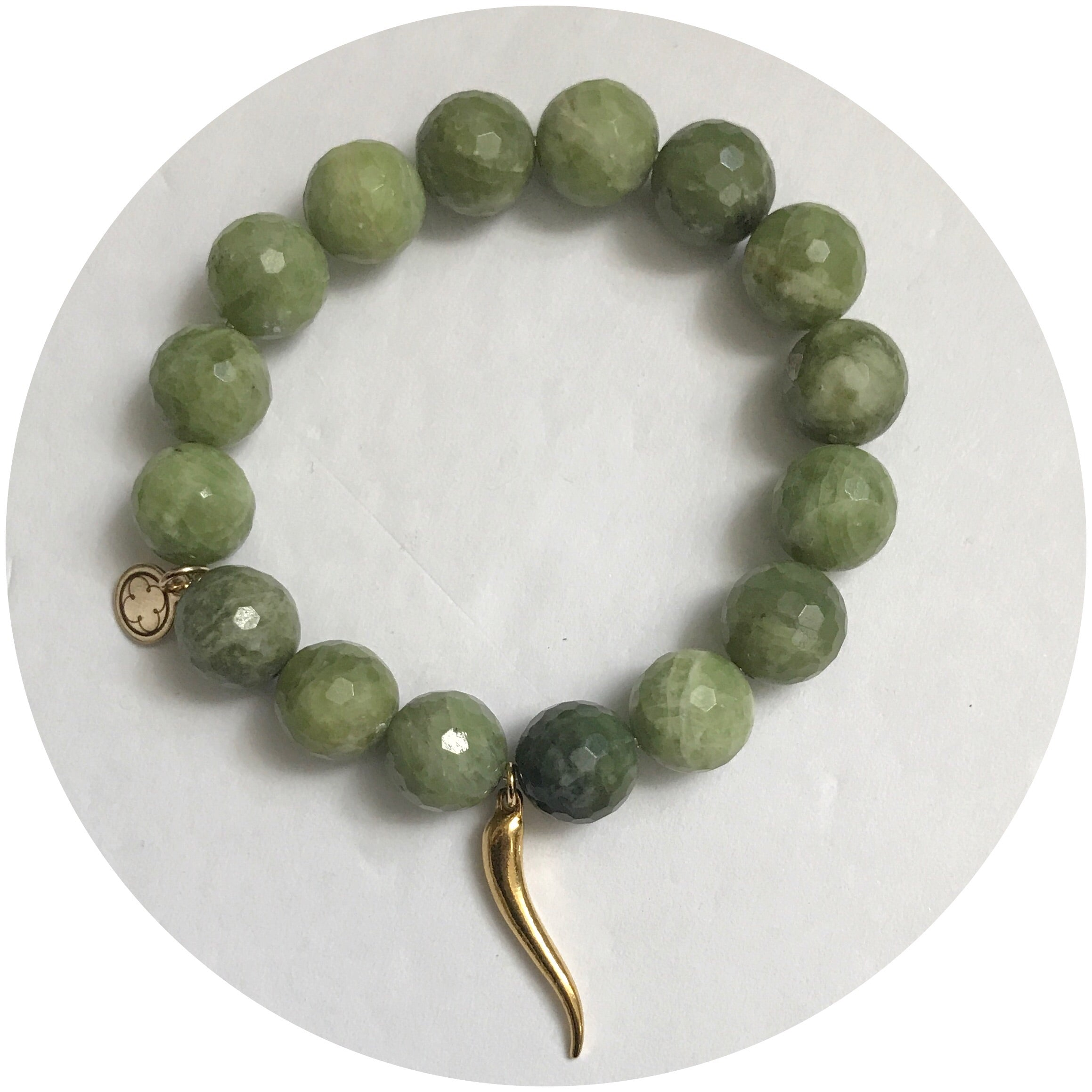 Green Garnet with Gold Horn Cornicello Pendant - Oriana Lamarca LLC