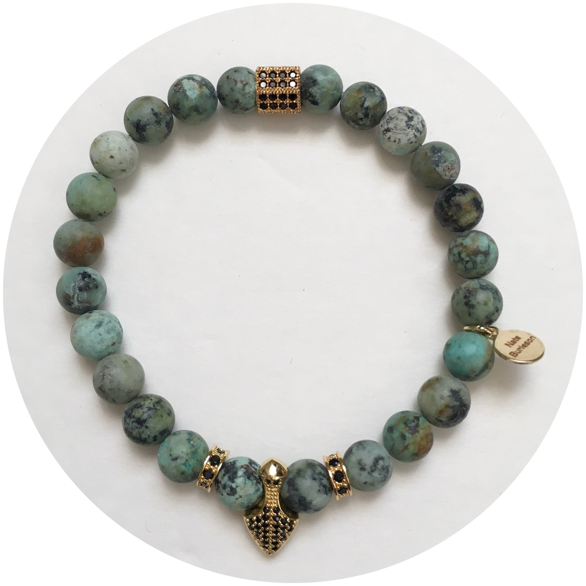 Nate B. Mens Matte African Turquoise Pavè Shield of Honor - Oriana Lamarca LLC