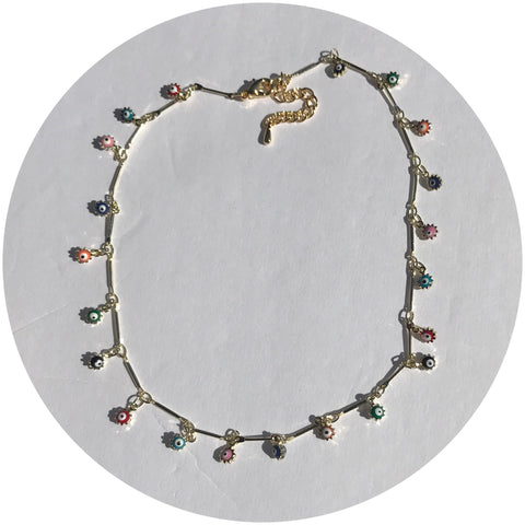 Mini Multicolor Evil Eye Choker