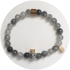 Nate B. Mens Grey Quartz Pavé Lion