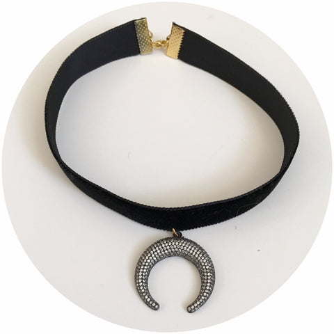 Black Velvet Choker with Pavé Crescent Moon Pendant