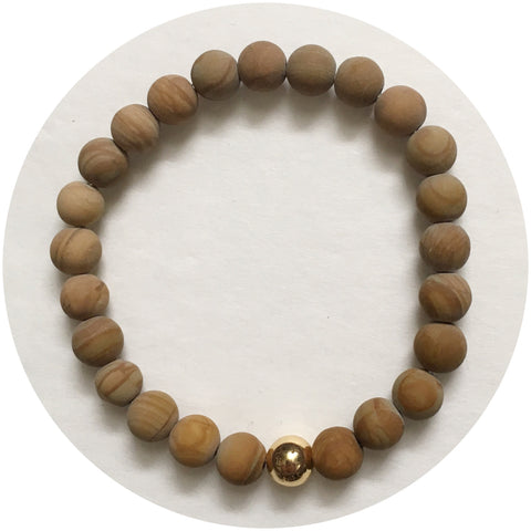 Mens Matte Picture Jasper with Gold Accent