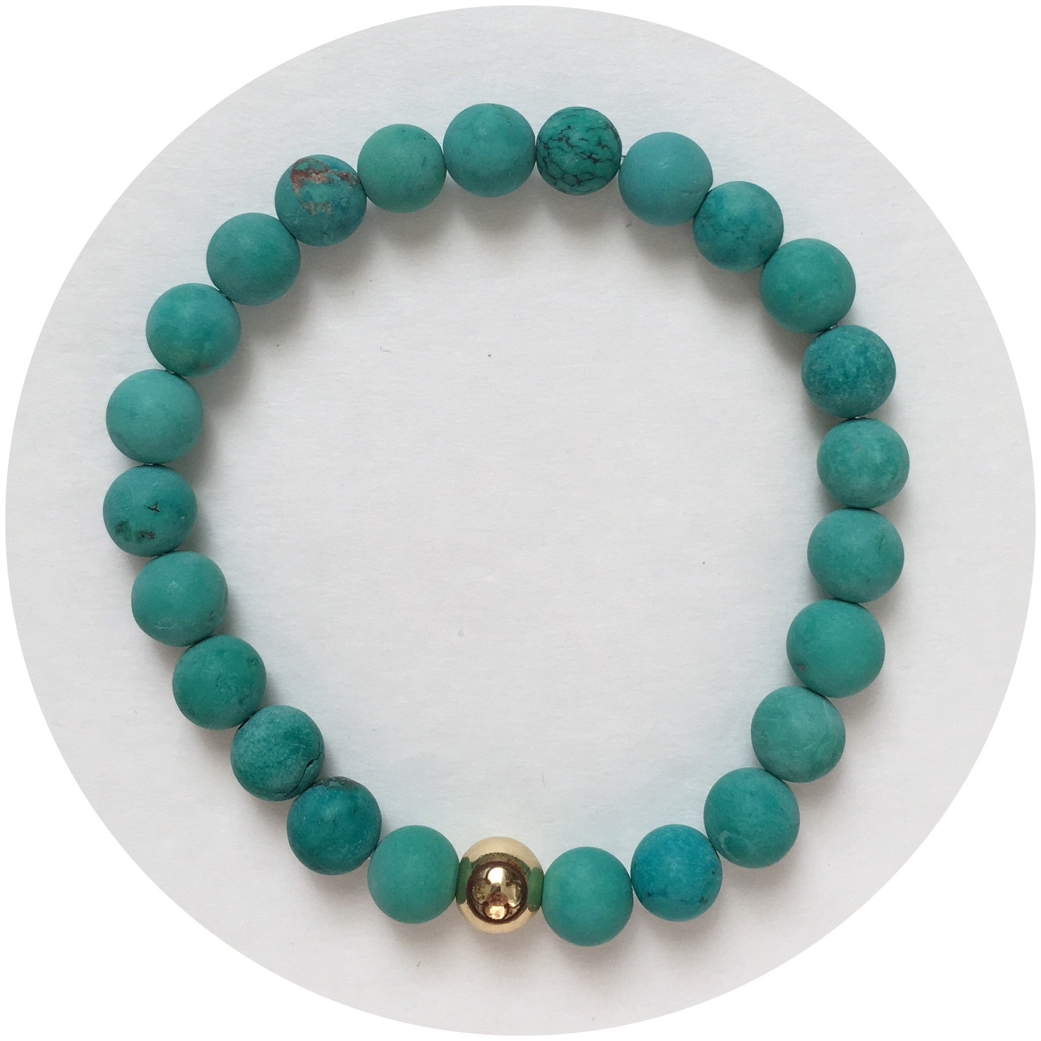 Mens Matte Green Turquoise with Gold Accent