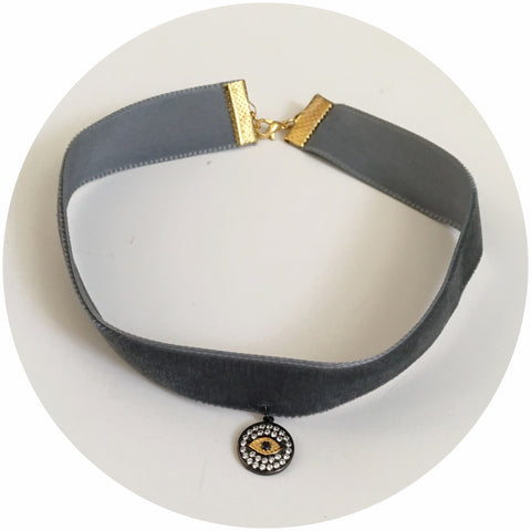 Dark Grey Velvet Choker with Pavé Evil Eye Pendant