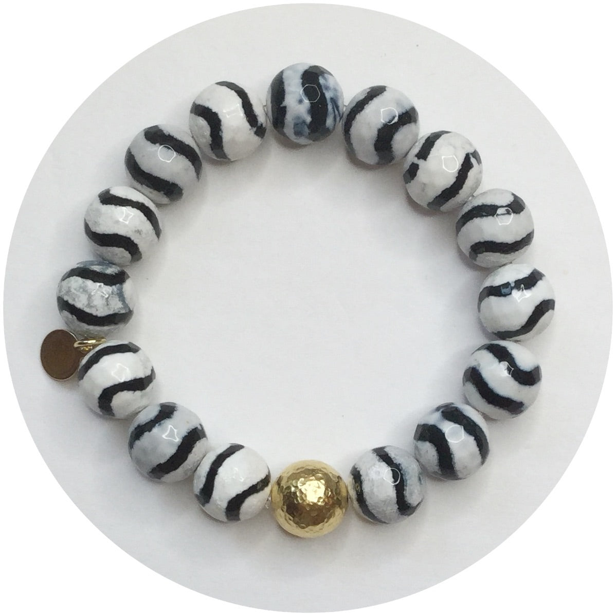Tibetan Black Wave Agate with Gold Hammered Accent - Oriana Lamarca LLC