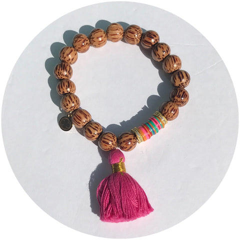 Coconut Wood with Magenta Tassel and Vinyl Beads