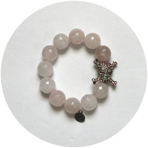 Children's Rose Quartz with Pavè Skull