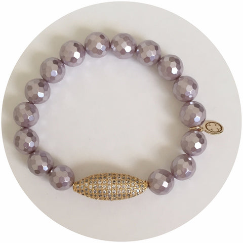 Lavender Pearl with Gold Pavé Dome