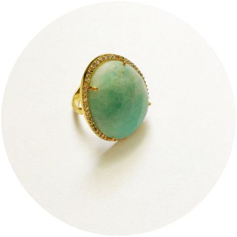 Pavè Amazonite Oval Ring