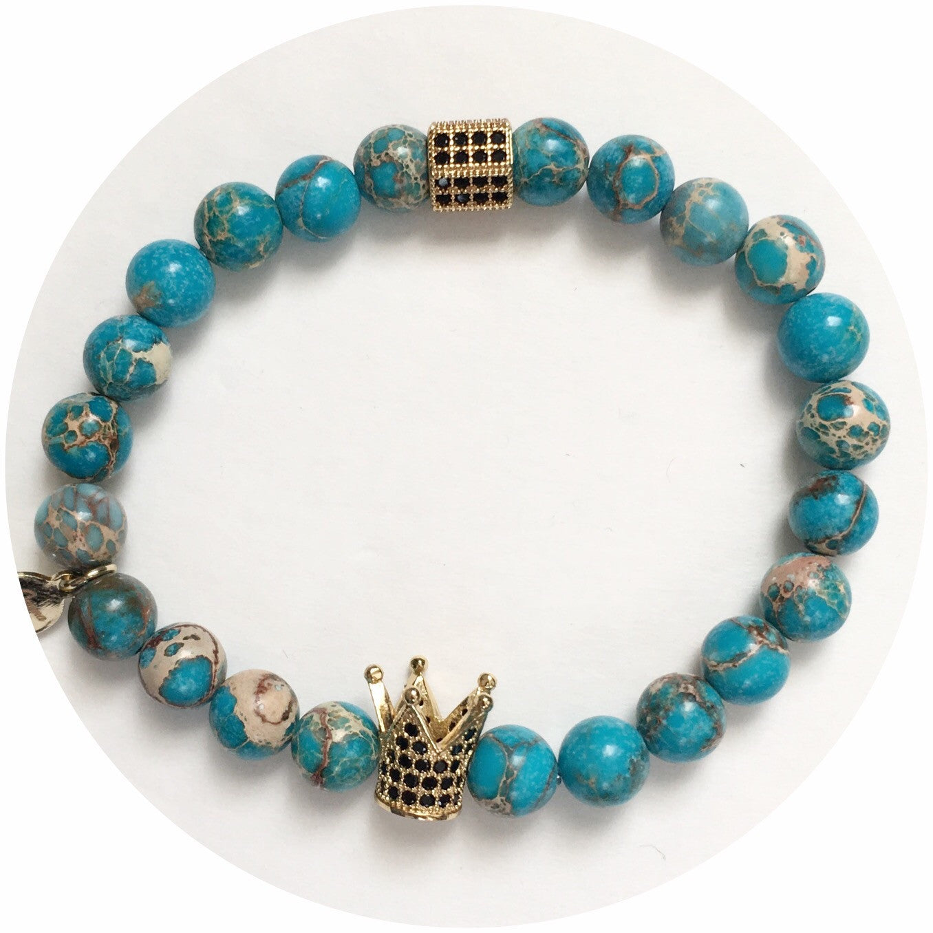 Nate B. Mens Turquoise Imperial Jasper with Pavè  Royalty Crown - Oriana Lamarca LLC