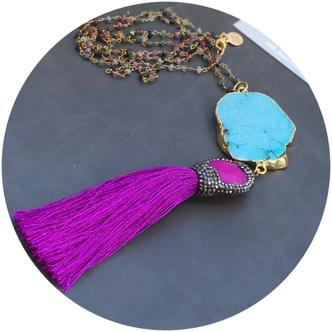 Watermelon Tourmaline Beaded Chain with Turquoise and Magenta Tassel Necklace