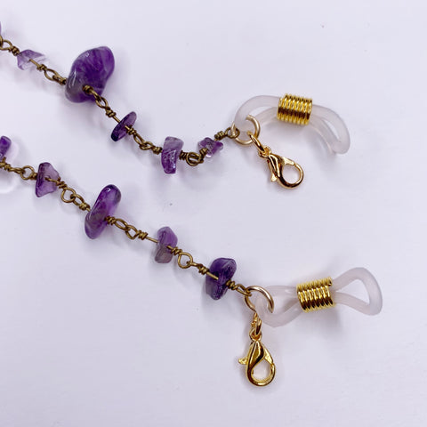 Amethyst Gemstone Chips Mask/Glasses Strap