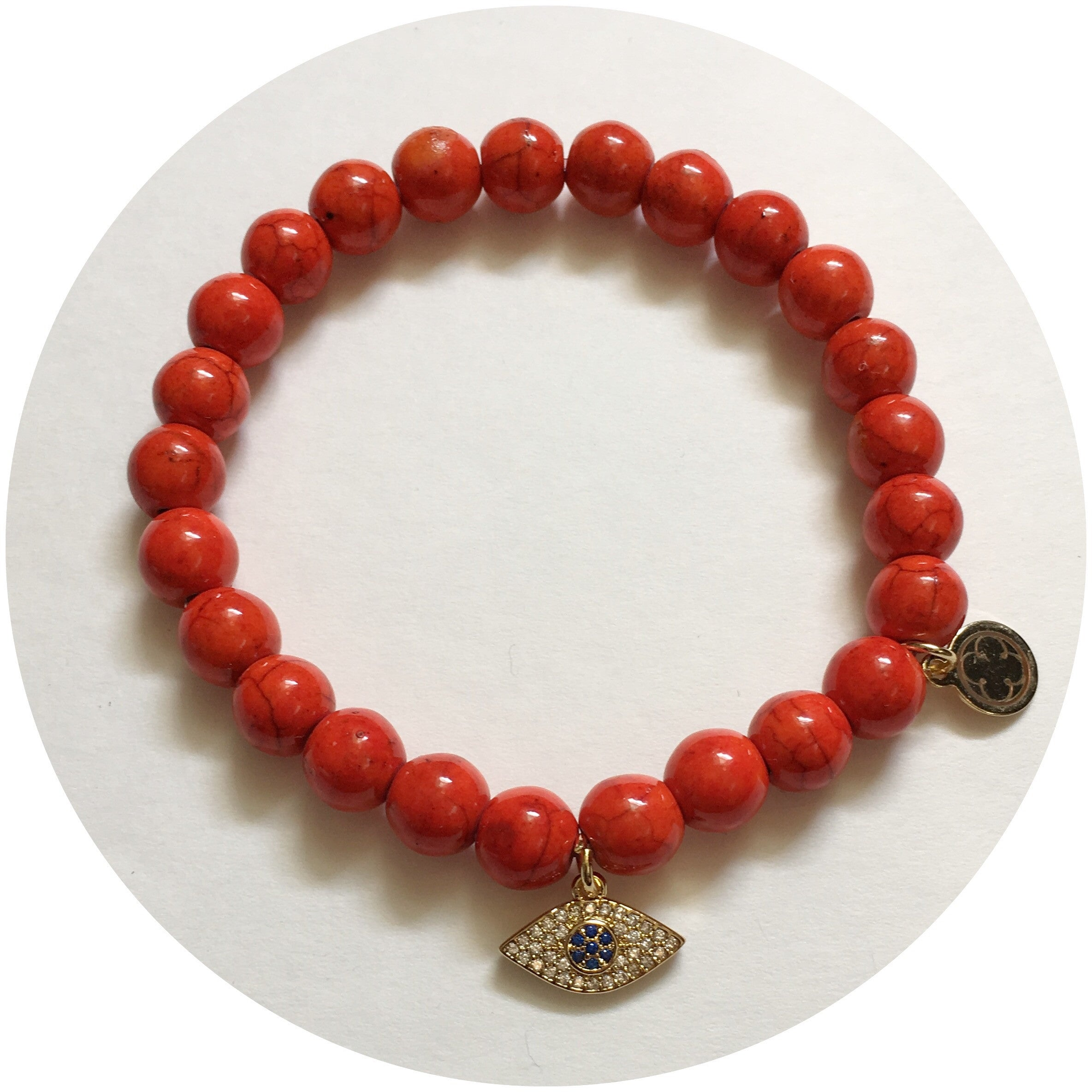 Orange Howlite with Pavé Evil Eye Pendant - Oriana Lamarca LLC