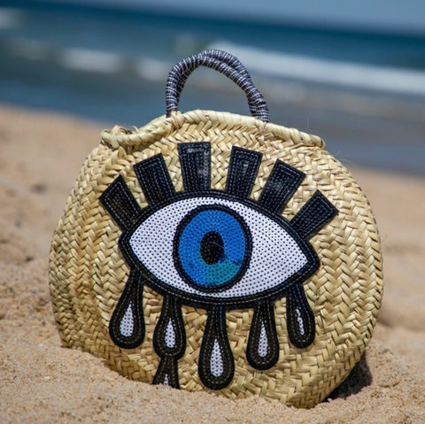 Evil Eye Round Straw Bag