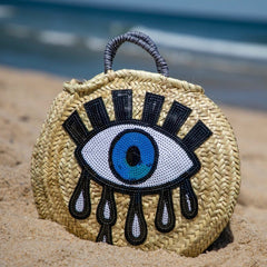 Evil Eye Round Straw Bag - Oriana Lamarca LLC