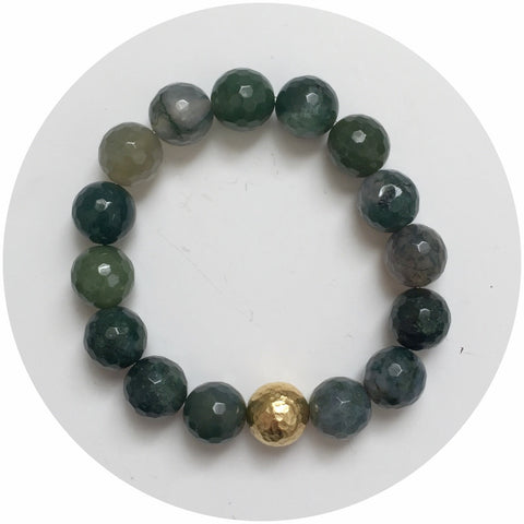 Moss Green Jade with Hammered Gold Accent