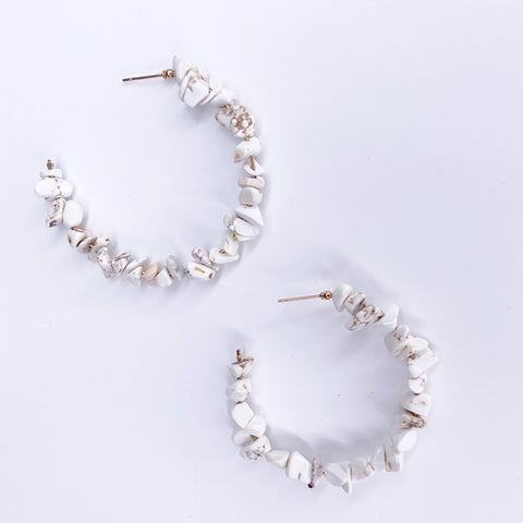 Scopello White Magnesite Chip Gemstone Hoops