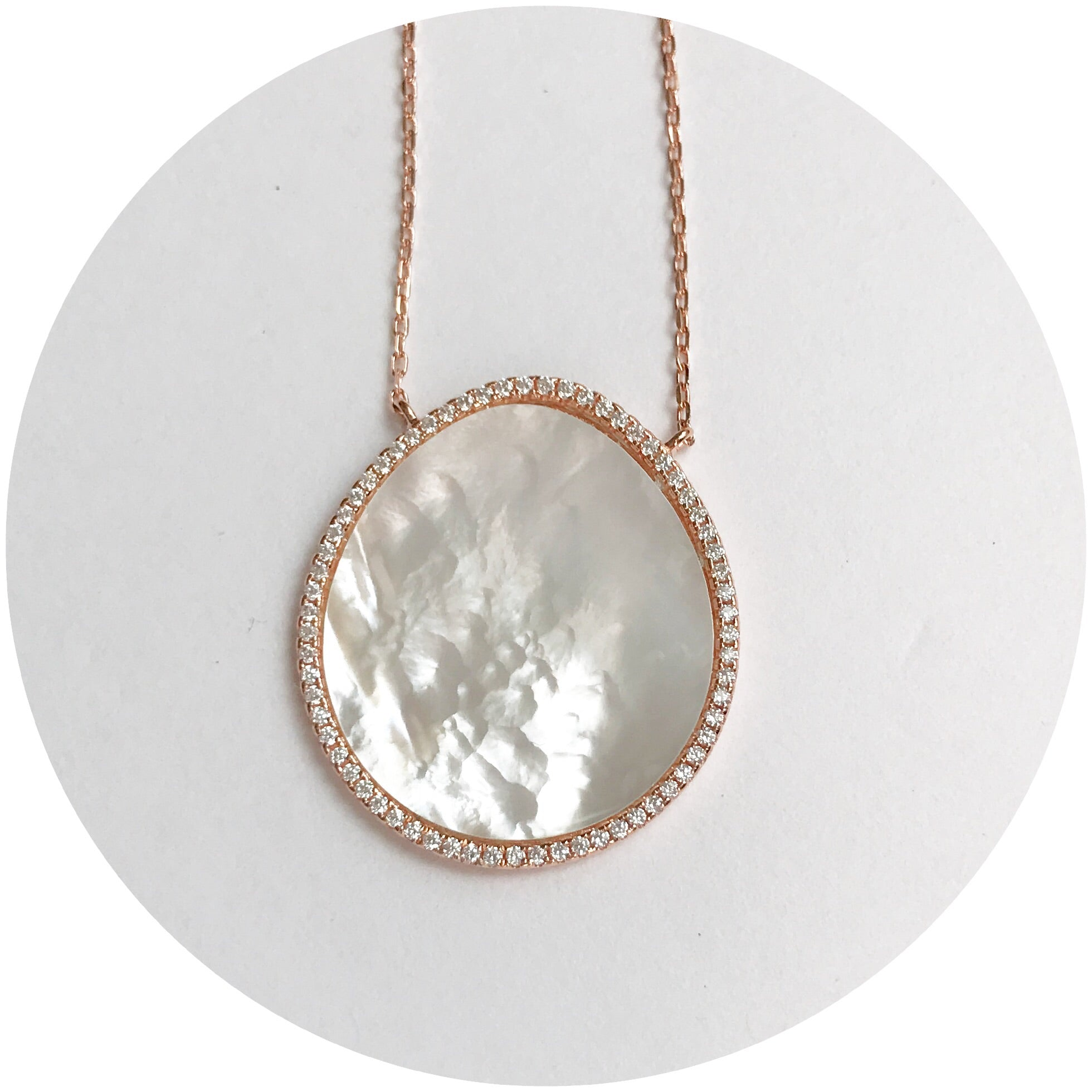 Mother of Pearl Pavè Rose Gold Oval Necklace