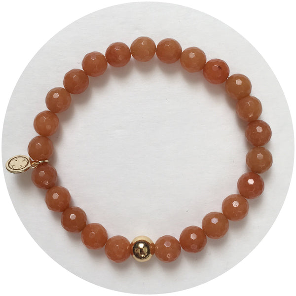 Mens Brown Aventurine with Gold Accent