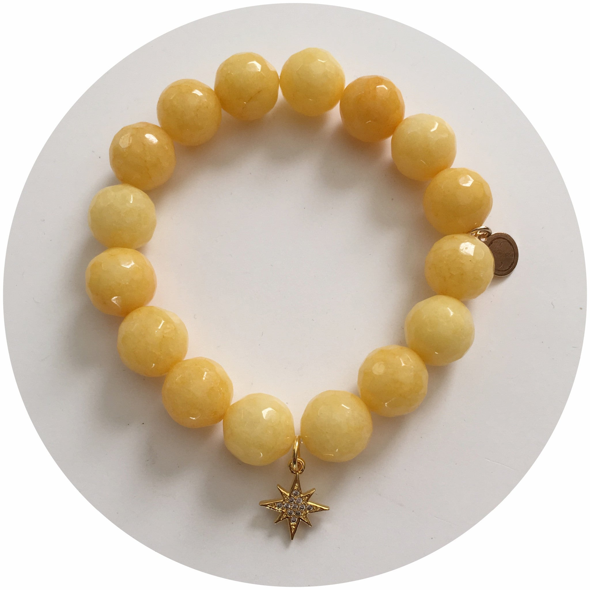 Yellow Jade Champion Child with Gold Pavé Mini Starburst Pendant - Oriana Lamarca LLC