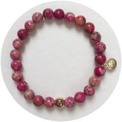 Mens Pink Imperial Jasper with Gold Accent