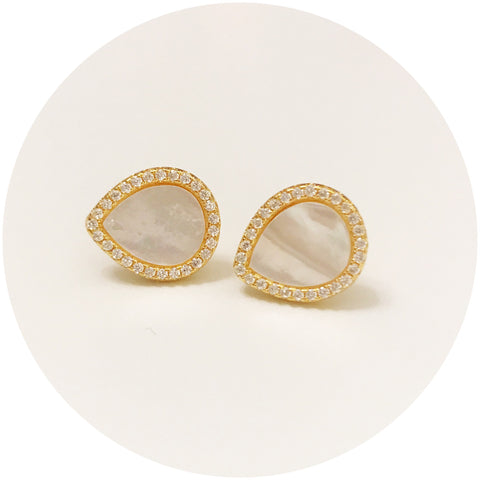 Mother of Pearl Gold Pavé Stud Earring
