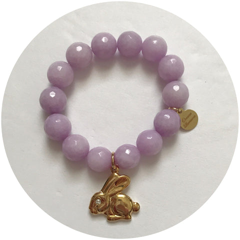 Children's Lavender Jade with Pavé Bunny Pendant