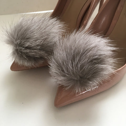 Light Grey Rabbit Fur Pom Pom