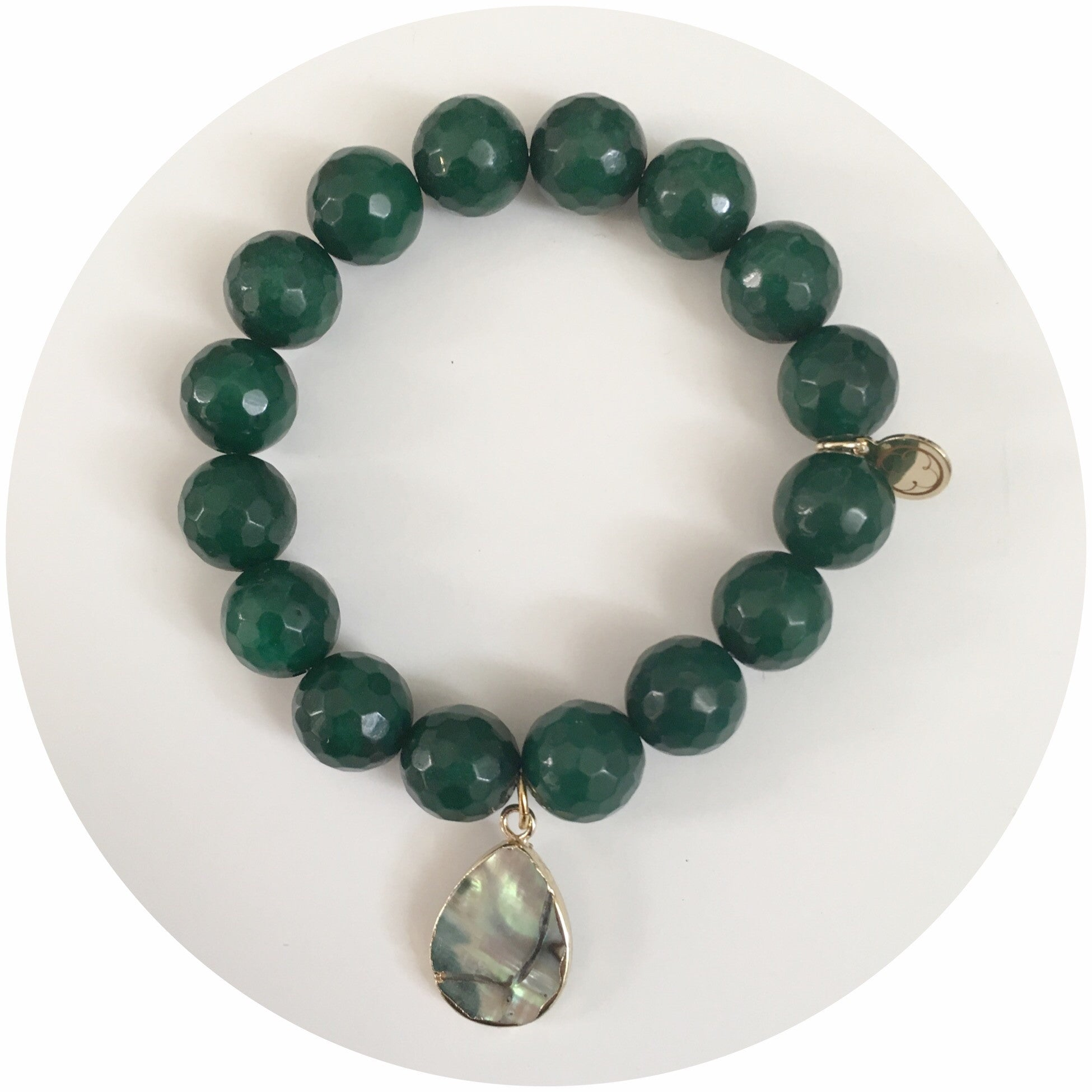 Emerald Green Jade with Abalone Teardrop Pendant - Oriana Lamarca LLC