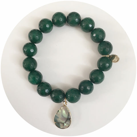 Emerald Green Jade with Abalone Teardrop Pendant