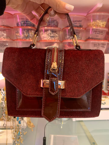 Olivia Pony Hair Marsala Hand Bag