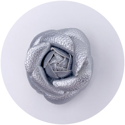 Silver Leather Brooch