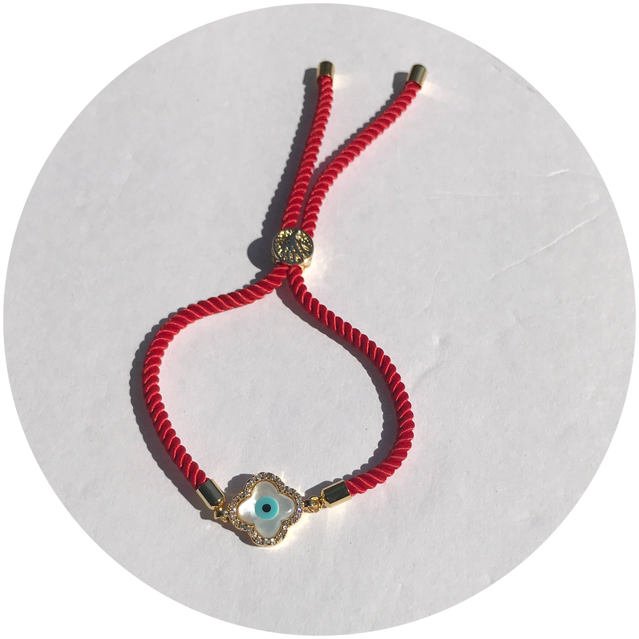 Red Cord with Pavé Mother of Pearl Clover