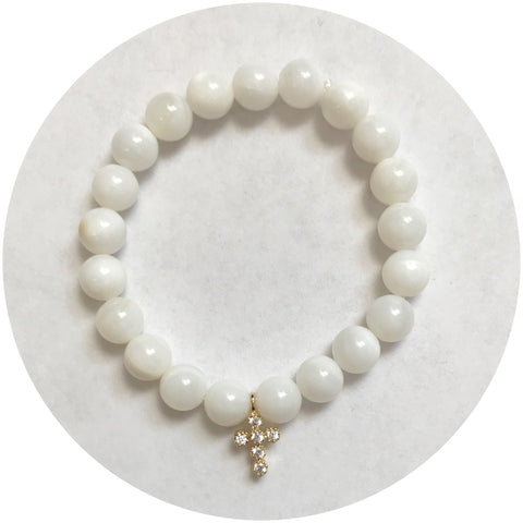Mini Mother of Pearl with Gold Pavé Cross *For NewBorns*