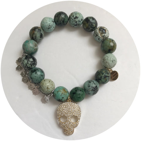 African Turquoise with Pavé Gold Skull and Silver Skull Chain