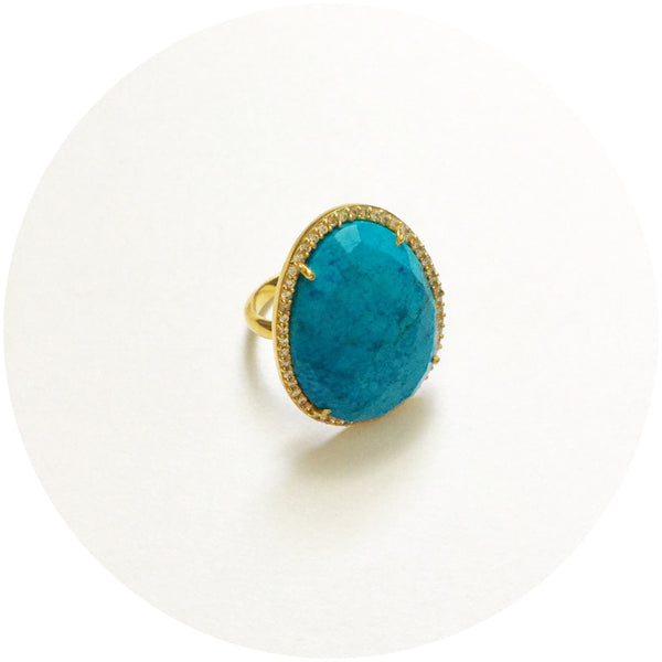 Pavè Turquoise Oval Ring