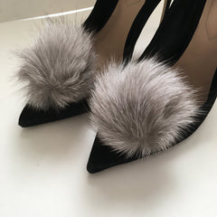 Light Grey Rabbit Fur Pom Pom - Oriana Lamarca LLC